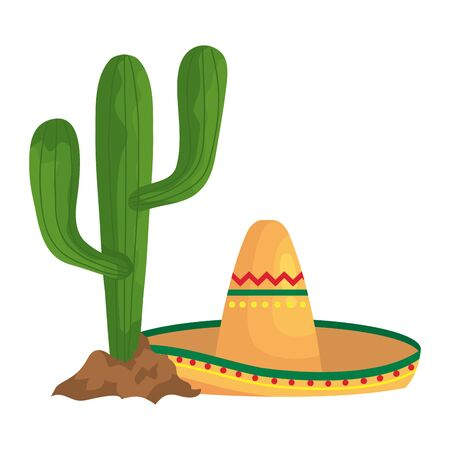 Mexican hat and cactus design, Mexico culture tourism landmark latin and party theme Vector illustration 向量圖像