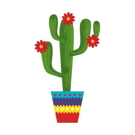 Cactus with flowers inside pot design, Plant desert nature tropical summer mexico and western theme Vector illustration