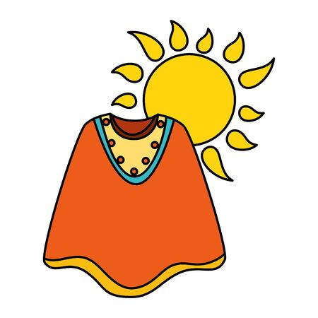 Mexican poncho and sun design, Mexico culture tourism landmark latin and party theme Vector illustration
