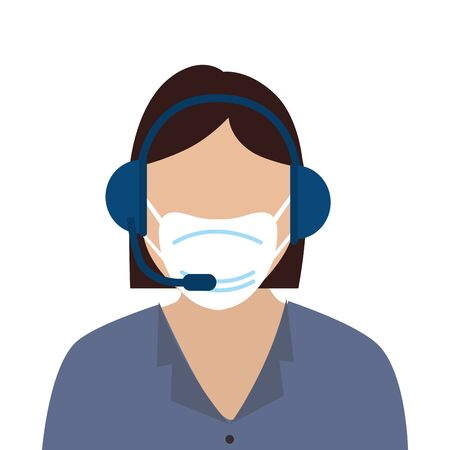woman agent call center with face mask vector illustration design