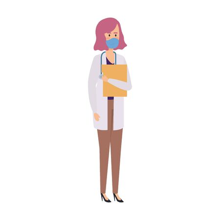 doctor female with face mask isolated icon vector illustration design