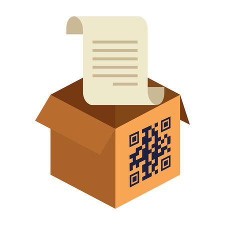 qr code over box and receipt paper design of technology scan information business price communication barcode digital and data theme Vector illustration