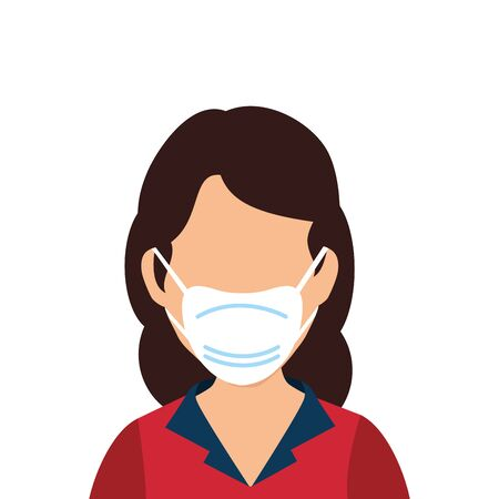 young woman with face mask isolated icon vector illustration design