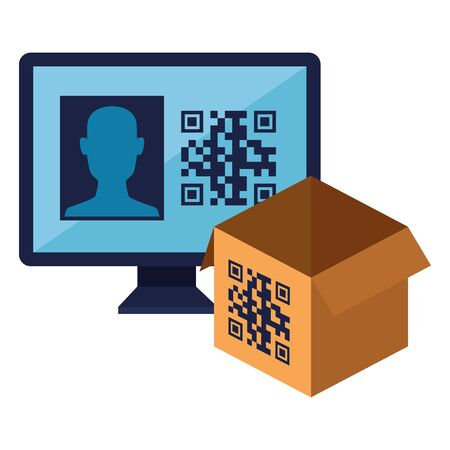 qr code over box and computer design of technology scan information business price communication barcode digital and data theme Vector illustration