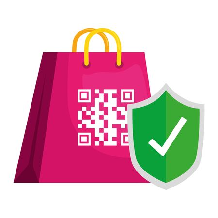 qr code over bag and shield design of technology scan information business price communication barcode digital and data theme Vector illustration