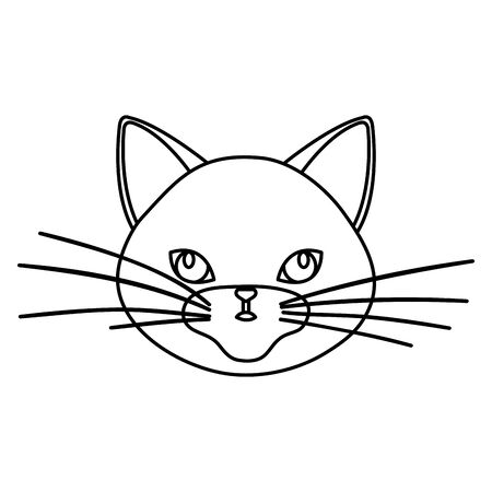 face of cute cat line style icon vector illustration design 向量圖像