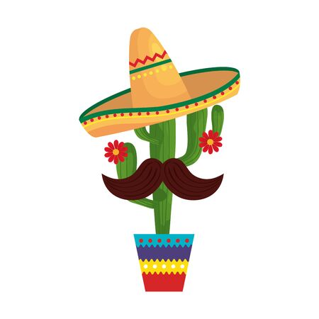Mexican cactus with hat and mustache design, Mexico culture tourism landmark latin and party theme Vector illustration 向量圖像