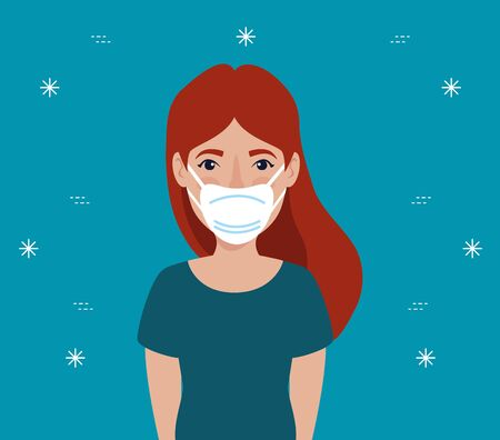 young woman with face mask vector illustration design