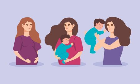 cute women pregnant with baby boys vector illustration design