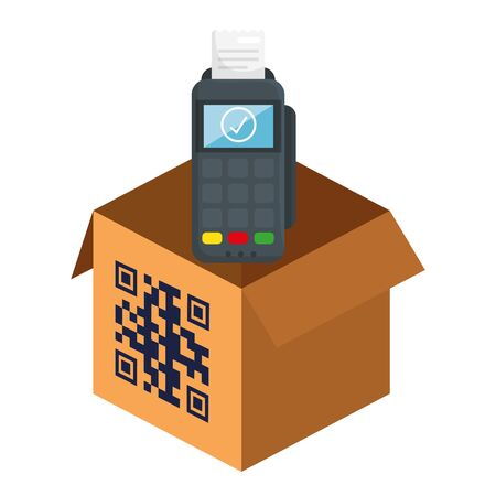 qr code over box and dataphone design of technology scan information business price communication barcode digital and data theme Vector illustration Stock Illustratie
