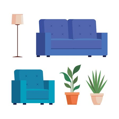 set couches with pots plants and floor lamp vector illustration design