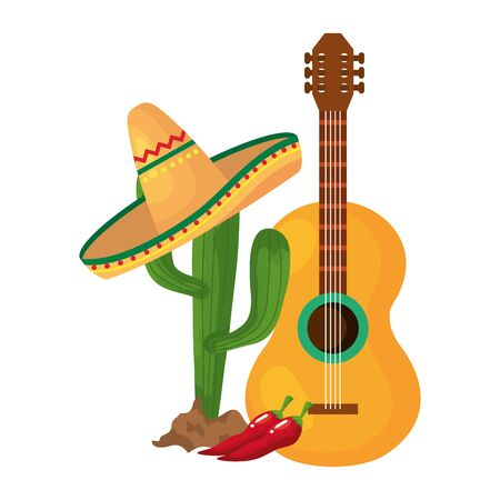 Mexican cactus with hat and guitar design, Mexico culture tourism landmark latin and party theme Vector illustration 向量圖像