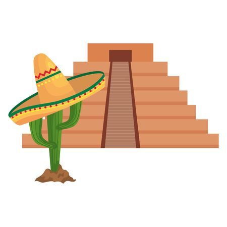 Mexican pyramid and cactus with hat design, Mexico culture tourism landmark latin and party theme Vector illustration 向量圖像