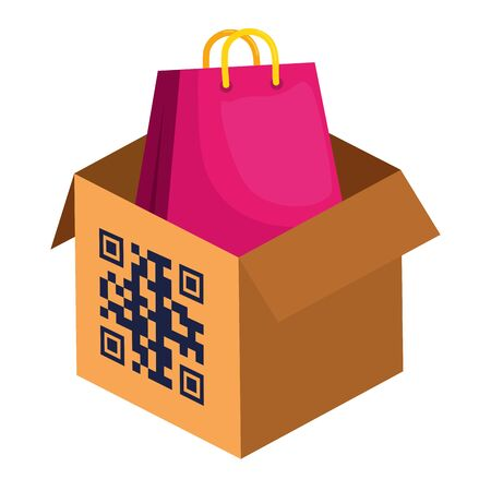 qr code over box and bag design of technology scan information business price communication barcode digital and data theme Vector illustration Stock Illustratie