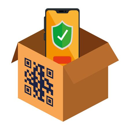 qr code over box and smartphone design of technology scan information business price communication barcode digital and data theme Vector illustration Stock Illustratie
