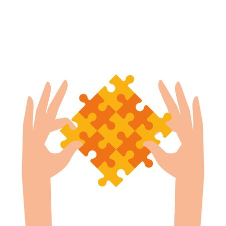 hand with set of puzzle pieces icons vector illustration design 向量圖像