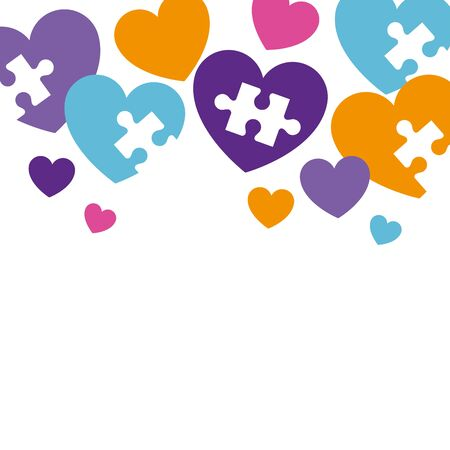 hearts with puzzle pieces icons vector illustration design 向量圖像