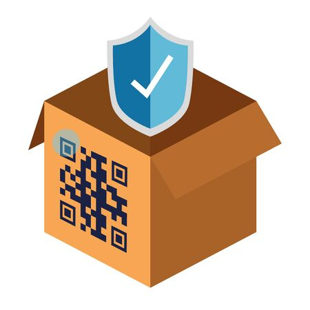qr code over box and shield design of technology scan information business price communication barcode digital and data theme Vector illustration