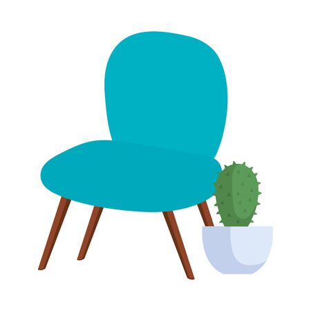 comfortable chair with cactus in pot plant vector illustration design