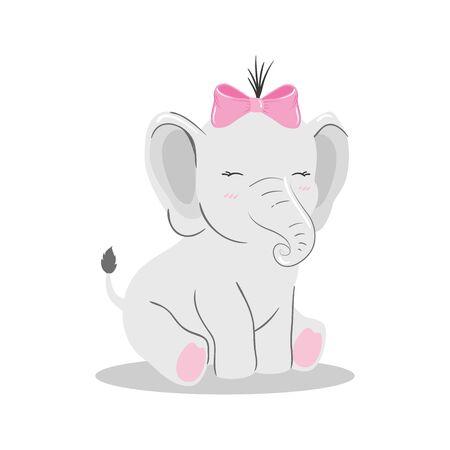 cute elephant female in white background vector illustration design