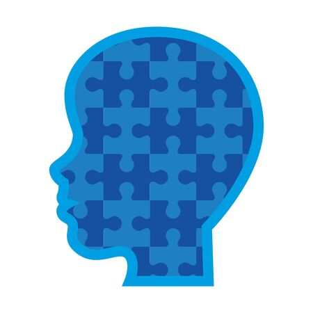 profile head with puzzle pieces vector illustration design