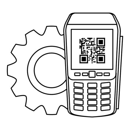 dataphone with scan code qr and gear vector illustration design Banque d'images - 144121577