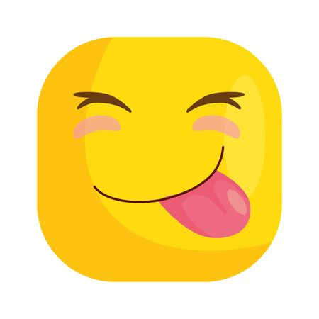 funny square emoticon with tongue out vector illustration design