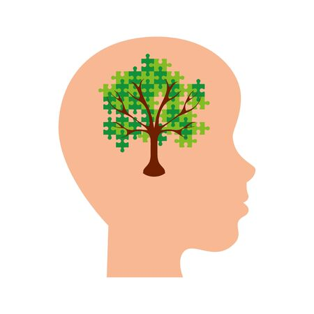 tree of puzzle pieces in head profile vector illustration design 向量圖像