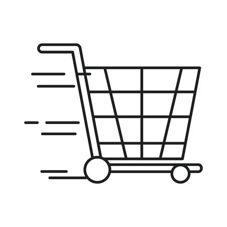 cart shopping transportation line style icon vector illustration design
