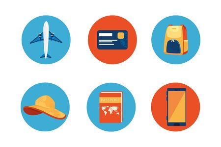 airplane with set icons in frames circular vector illustration design
