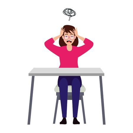woman with stress attack in desk vector illustration design Illustration