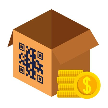 qr code over box and coins design of technology scan information business price communication barcode digital and data theme Vector illustration