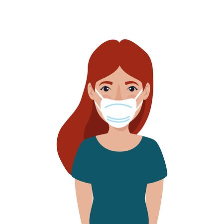 young woman with face mask isolated icon vector illustration design  イラスト・ベクター素材