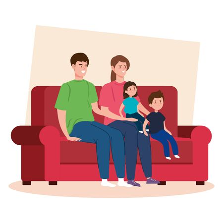 campaign stay at home with family in living room vector illustration design