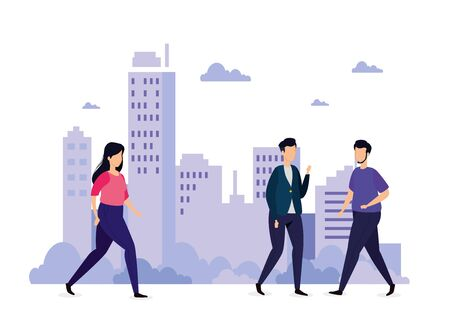 urban scene with young people walking vector illustration design