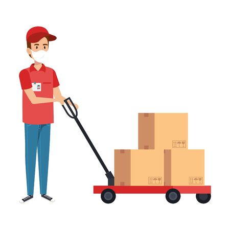 delivery worker using face mask with boxes carton in wheelbarrow vector illustration design