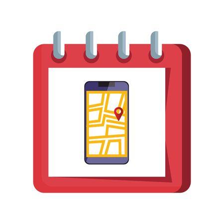 smartphone with map location app in calendar vector illustration design