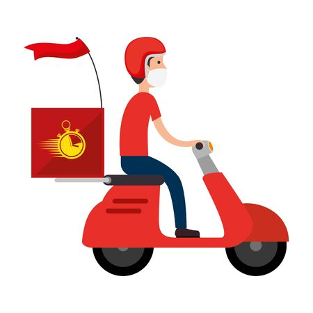 delivery worker using face mask in motorcycle vector illustration design