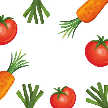 frame of fresh tomatoes and vegetables vector illustration design Vectores
