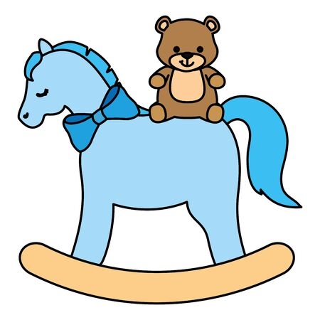 wooden horse toy with teddy bear vector illustration design Vettoriali