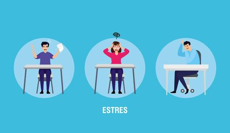 set scenes of people with with stress attack vector illustration design