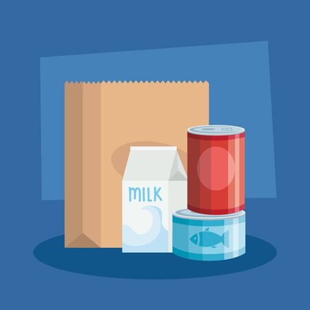 food in can with box milk and bag paper vector illustration design