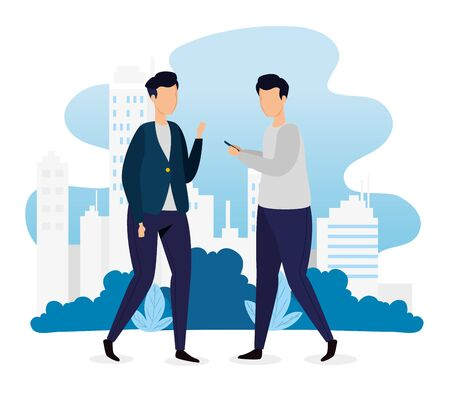 urban scene and young men with smartphone vector illustration design Illustration