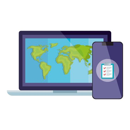 smartphone and world map inside laptop design, Delivery logistics transportation shipping service warehouse industry and global theme Vector illustration 일러스트