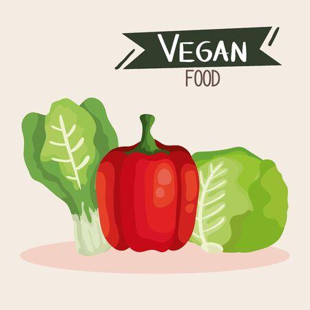 vegan food poster with pepper and vegetables vector illustration design Çizim