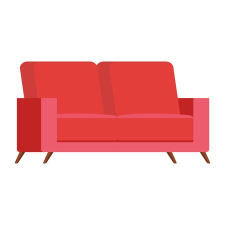 comfortable couch red color isolated icon vector illustration design
