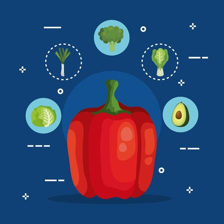 fresh bell pepper with set vegetables vector illustration design