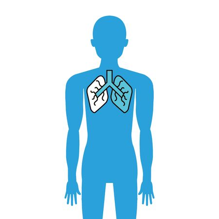 body avatar with lungs organ isolated icon vector illustration design