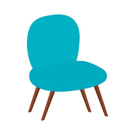 comfortable chair blue color isolated icon vector illustration design