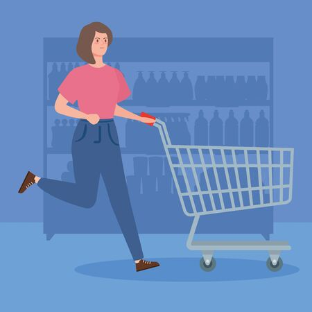 woman with cart shopping running vector illustration design